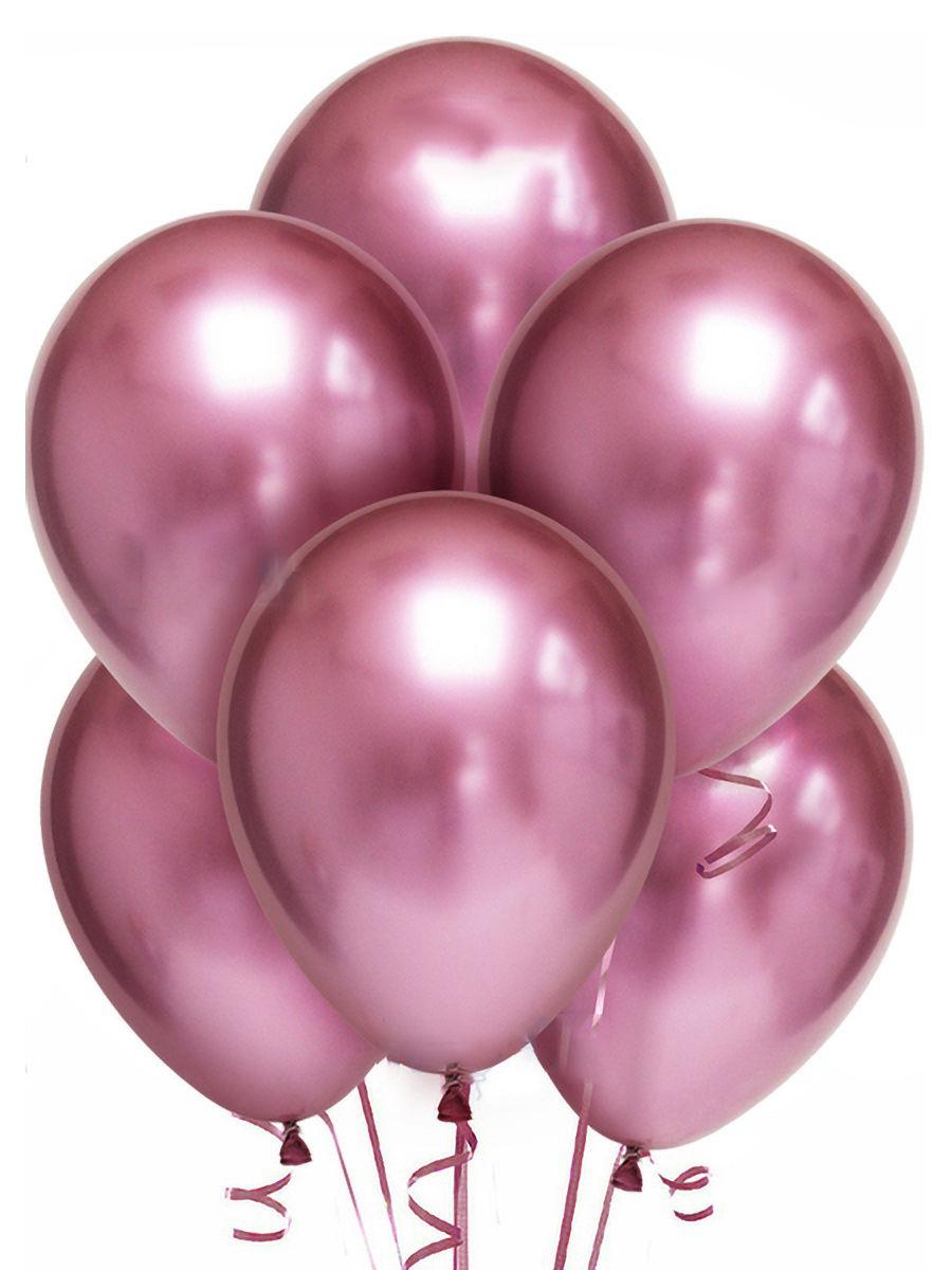 Латексный шар ХРОМ розовый