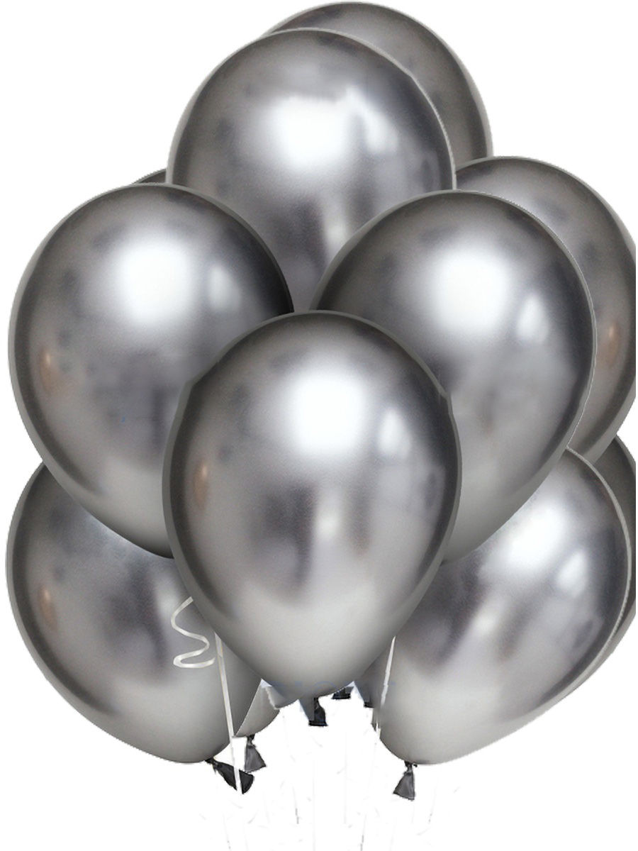 Латексный шар ХРОМ серебро