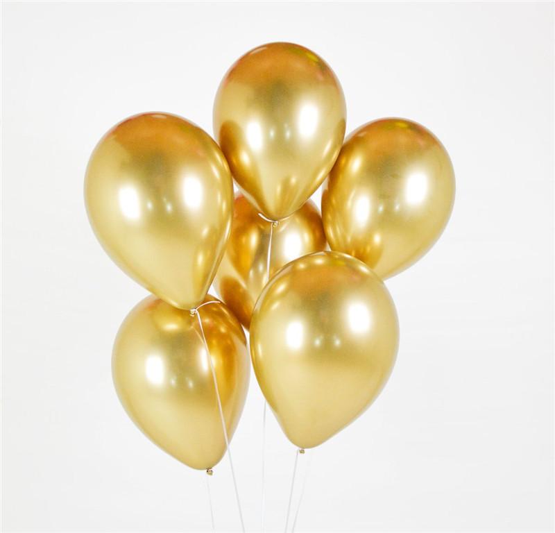 Латексный шар ХРОМ золото