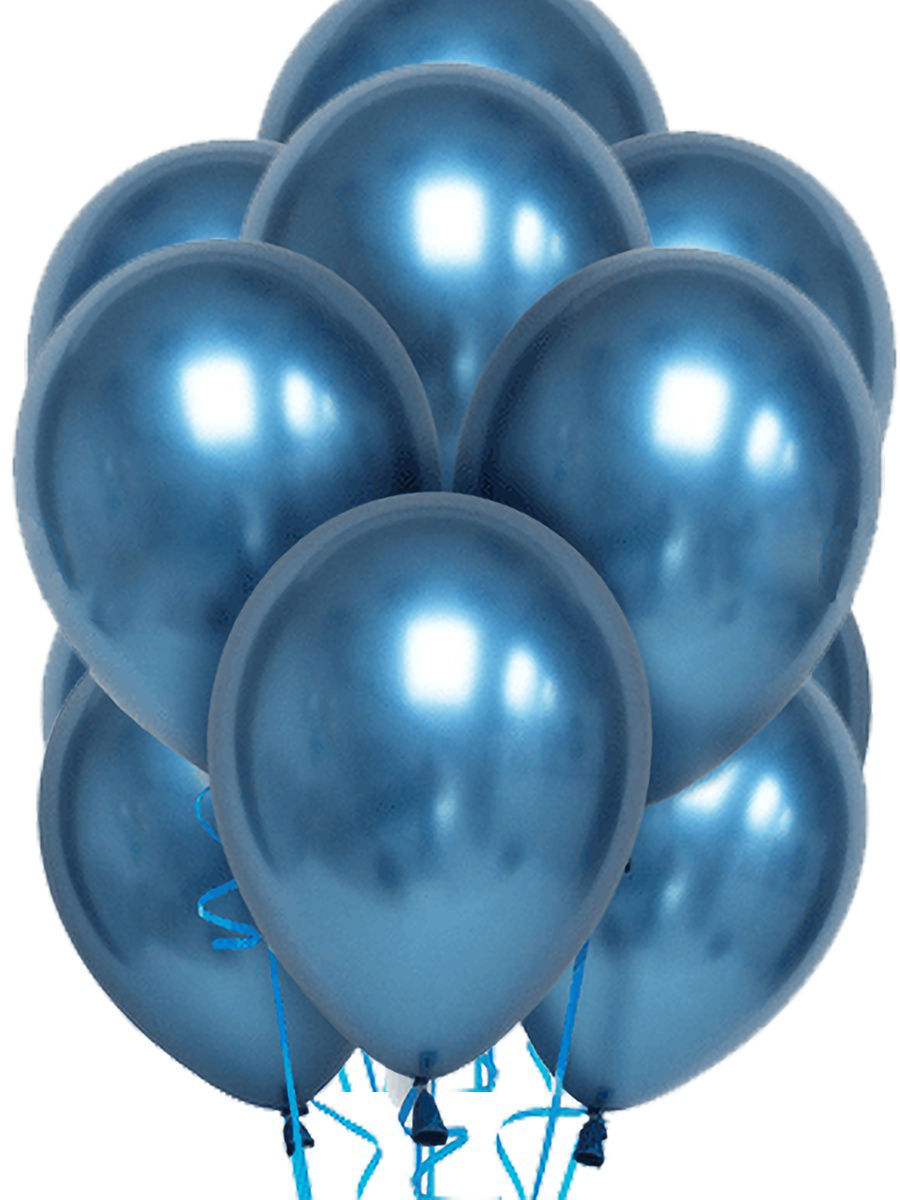 Латексный шар ХРОМ синий